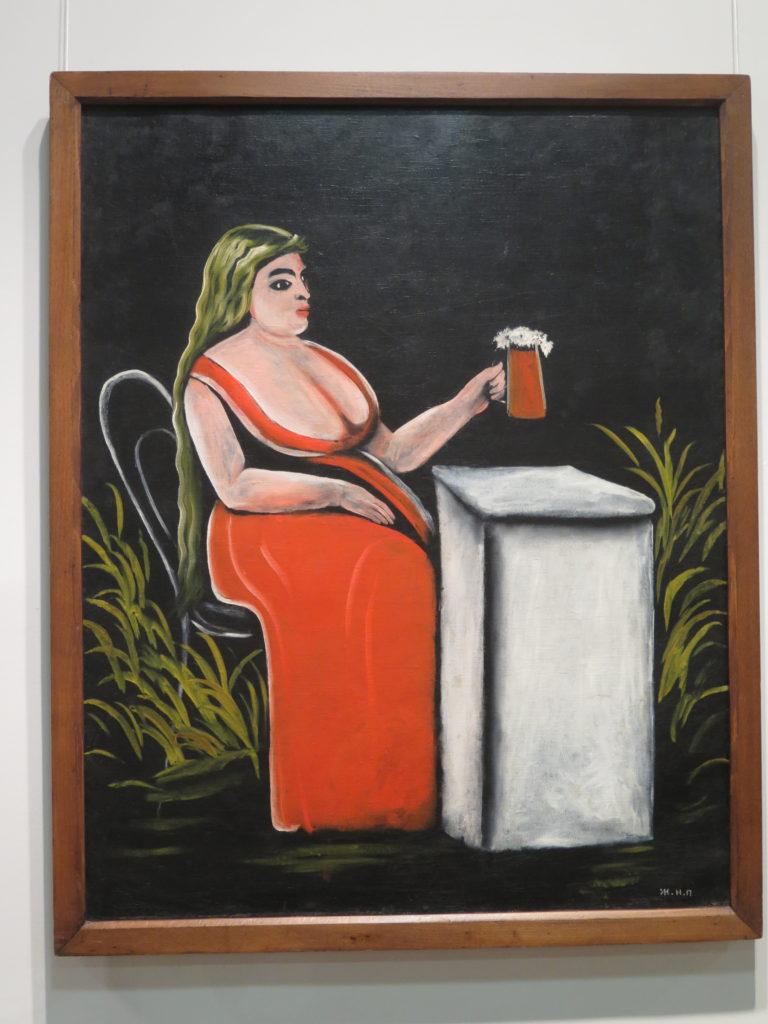 """Woman with a Mug of Beer """"Kvinde med et krus øl"""" af Pirosmani"""