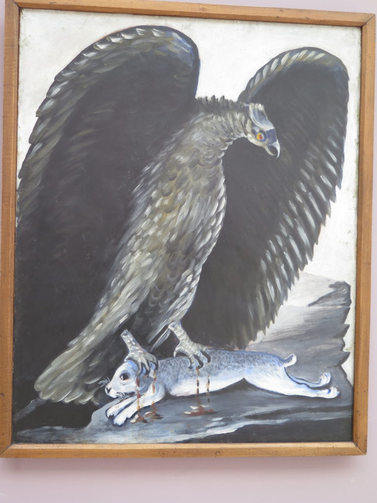 Eagle seizing a hare (eller Eagle caught a rabbit) af Pirosmani