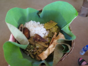 Lunch Plate of palm leaves stuffed. Village visit at Sigiriya