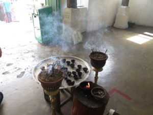 Incense inside the Hindu temple