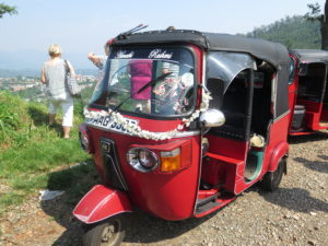 Tuk-tuk in Sri Lanka, which is decorated