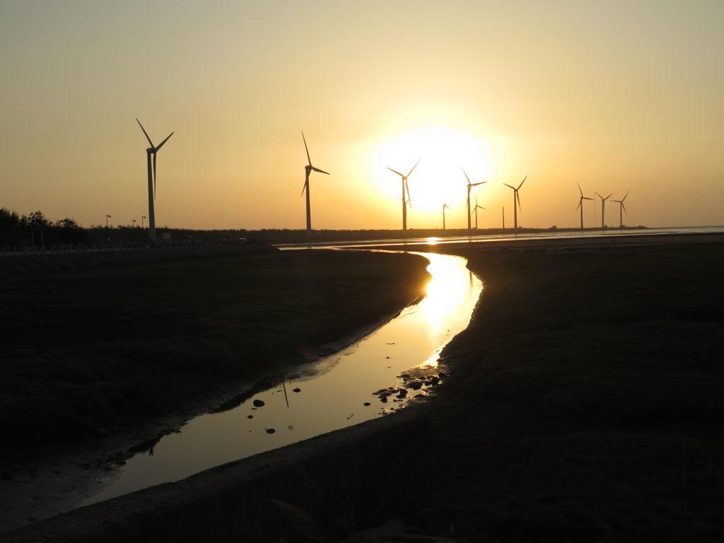 Solnedgang i Gaomei Wetlands. Yingge og Longteng samt Gaomei Wetlands