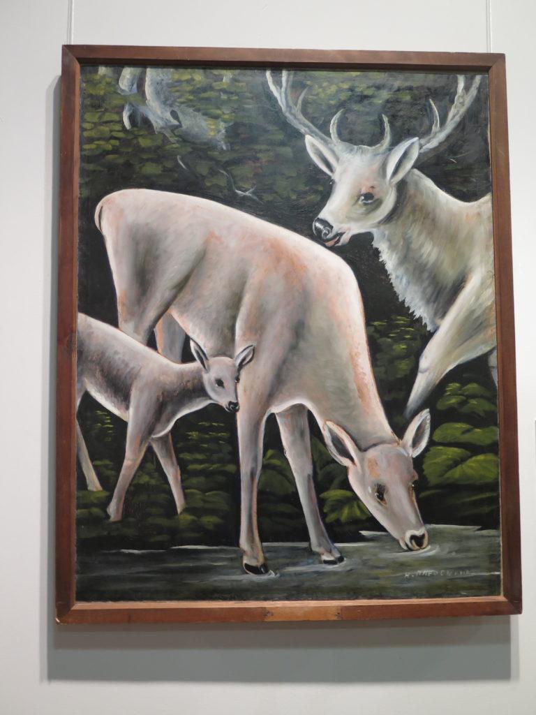 """Deer with their fawns """"Hjorte med deres lam"""" af Pirosmani"""