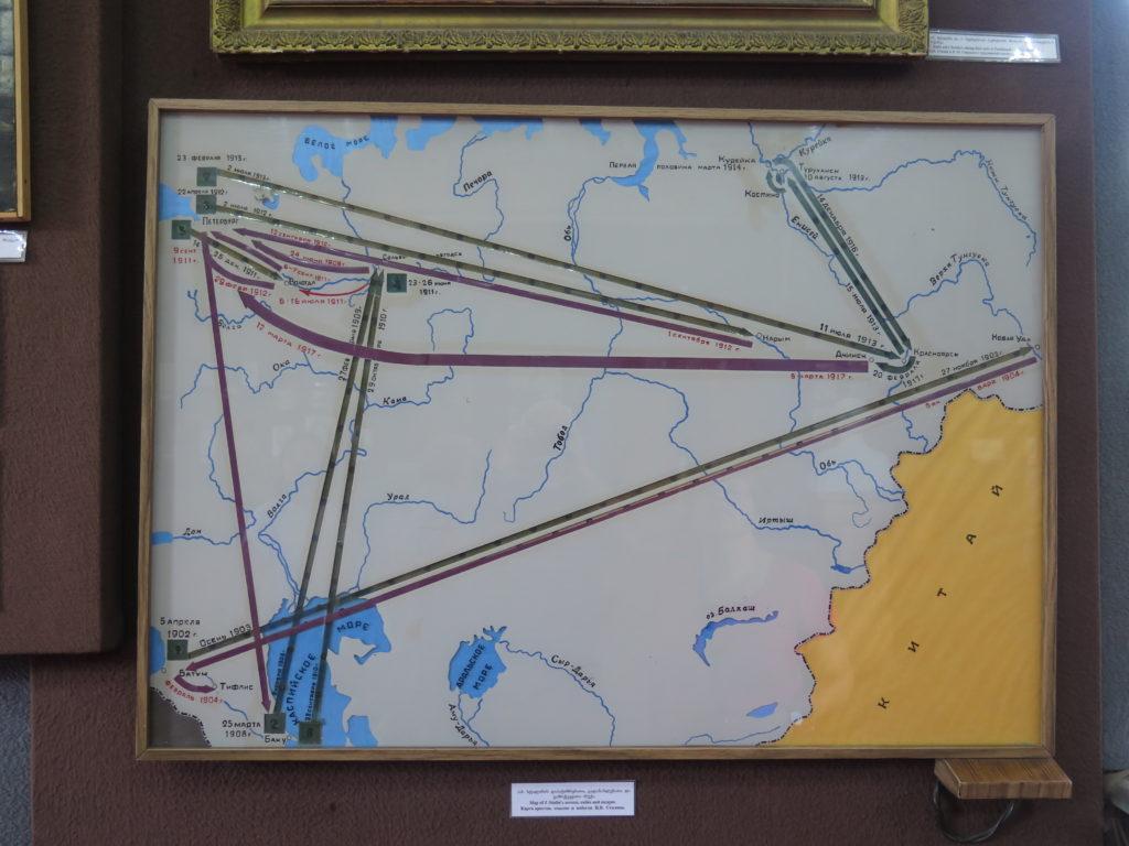 Kort over Stalins arrestationer, eksilsteder og flugt på Stalin museet i Gori, Georgien