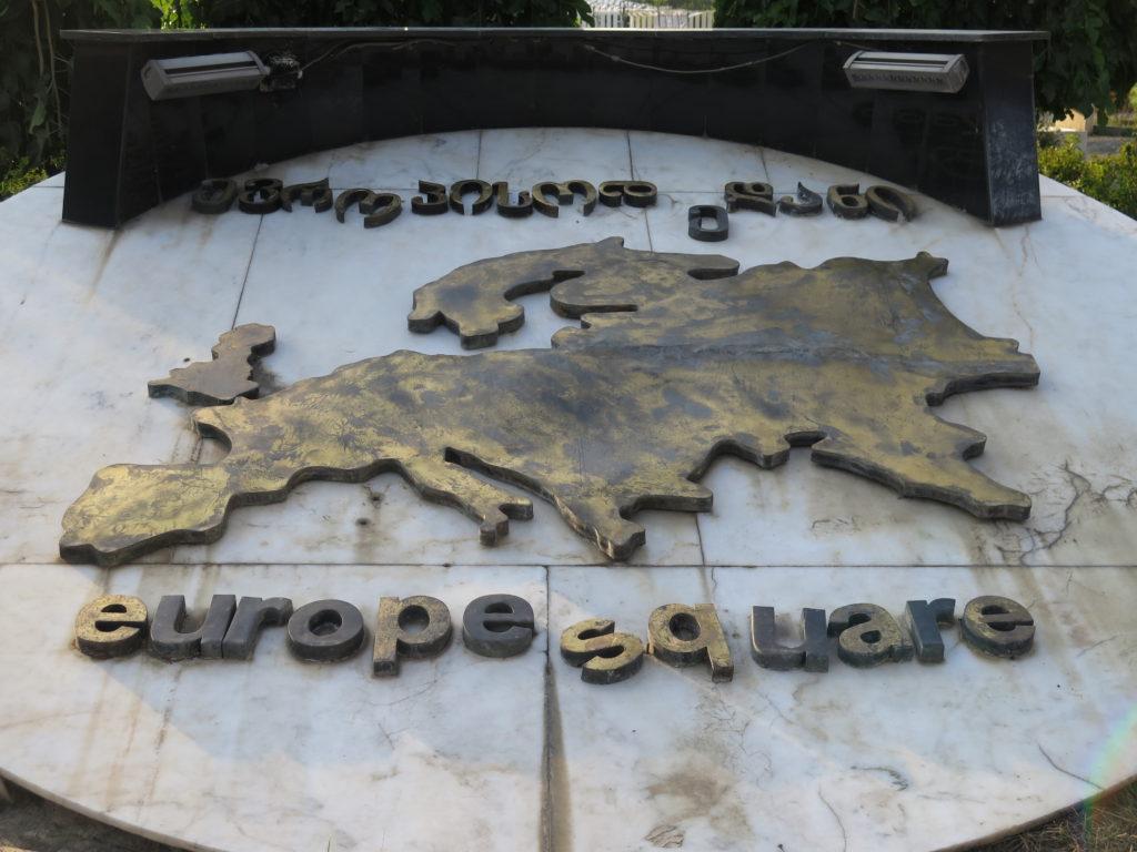 Danmark mangler på Europakortet på Europapladsen i Tbilisi