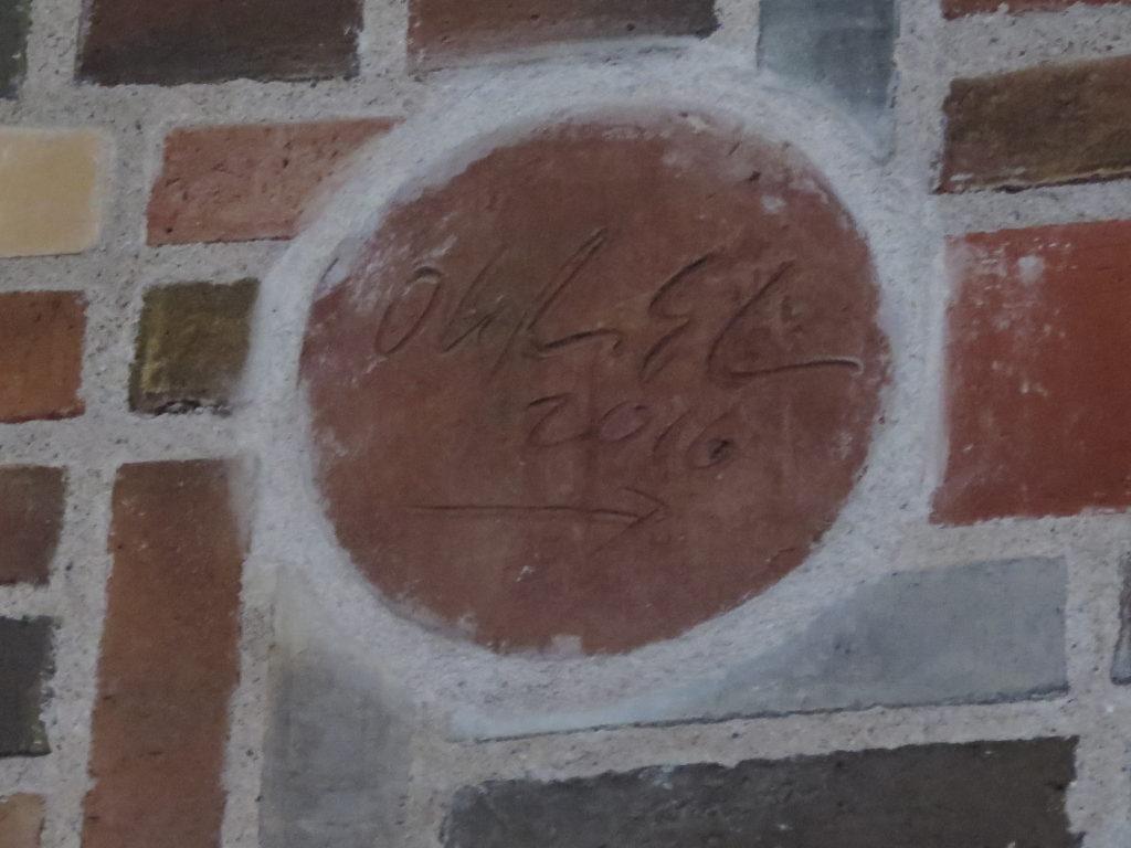Olafur Eliasson's autograf på mursten