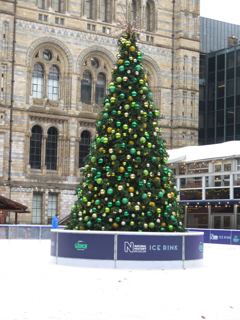 Juletræ ved på skøjtebanen ved Natural History Museum