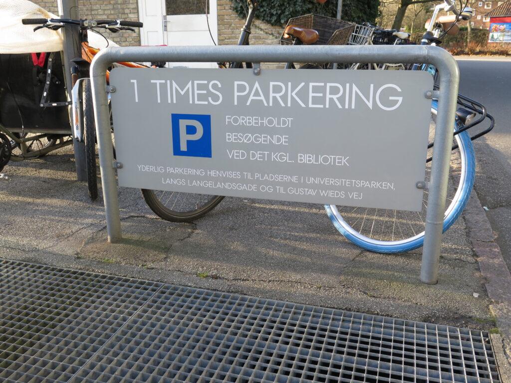 1 times parkering ved Det Kongelige Bibliotek
