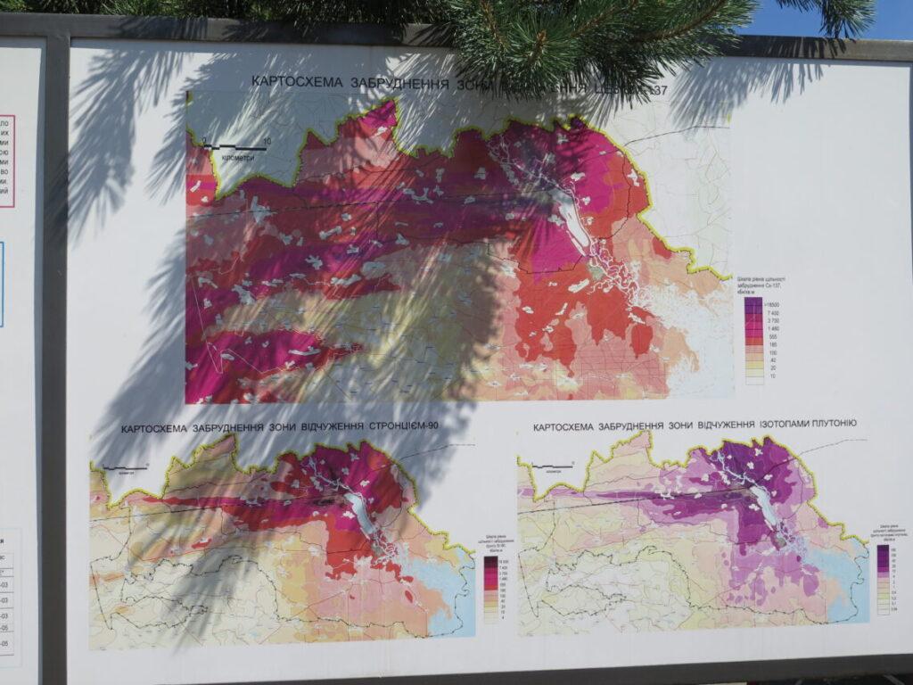 Kort over stråling i Tjernobyl efter ulykken