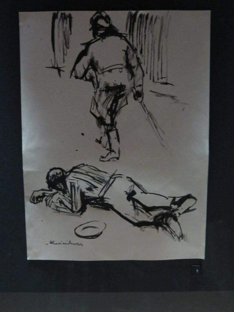 Tegning fra koncentrationslejr på Anden Verdenskrigsmuseet i Gdansk