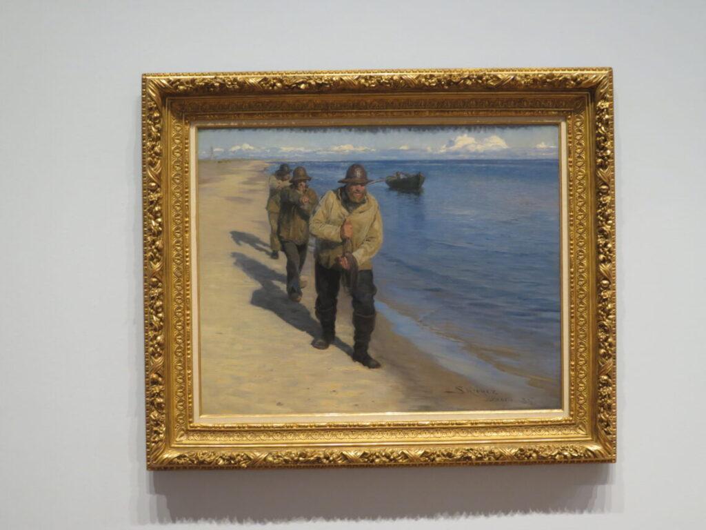 Peder Severin Krøyer: Drei Fischer ziehen ein Boot, 1885. Dansk historie på Föhr