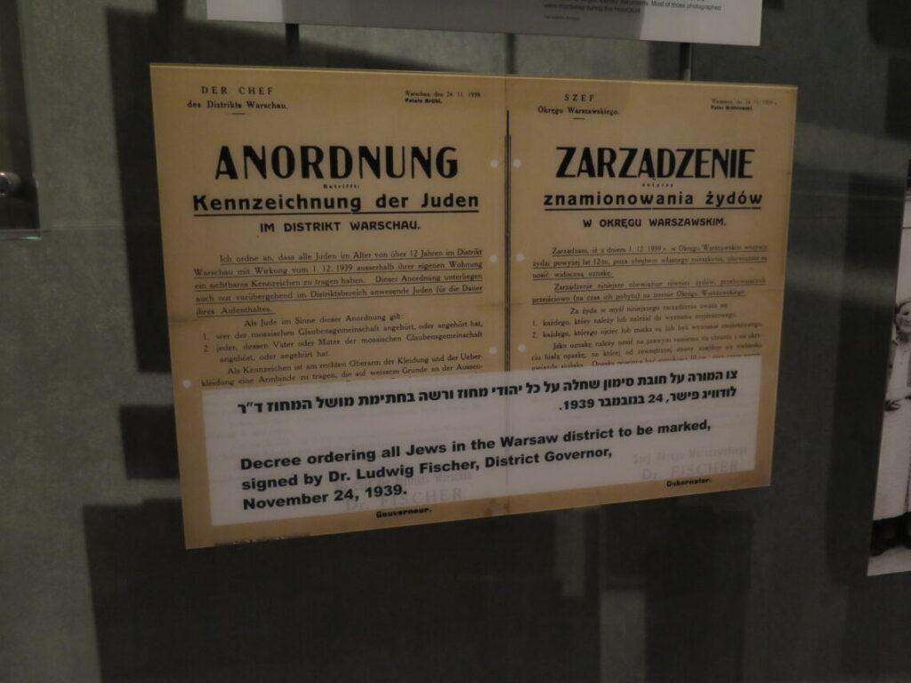 Plakat om at at jøder skulle bære et kendetegn