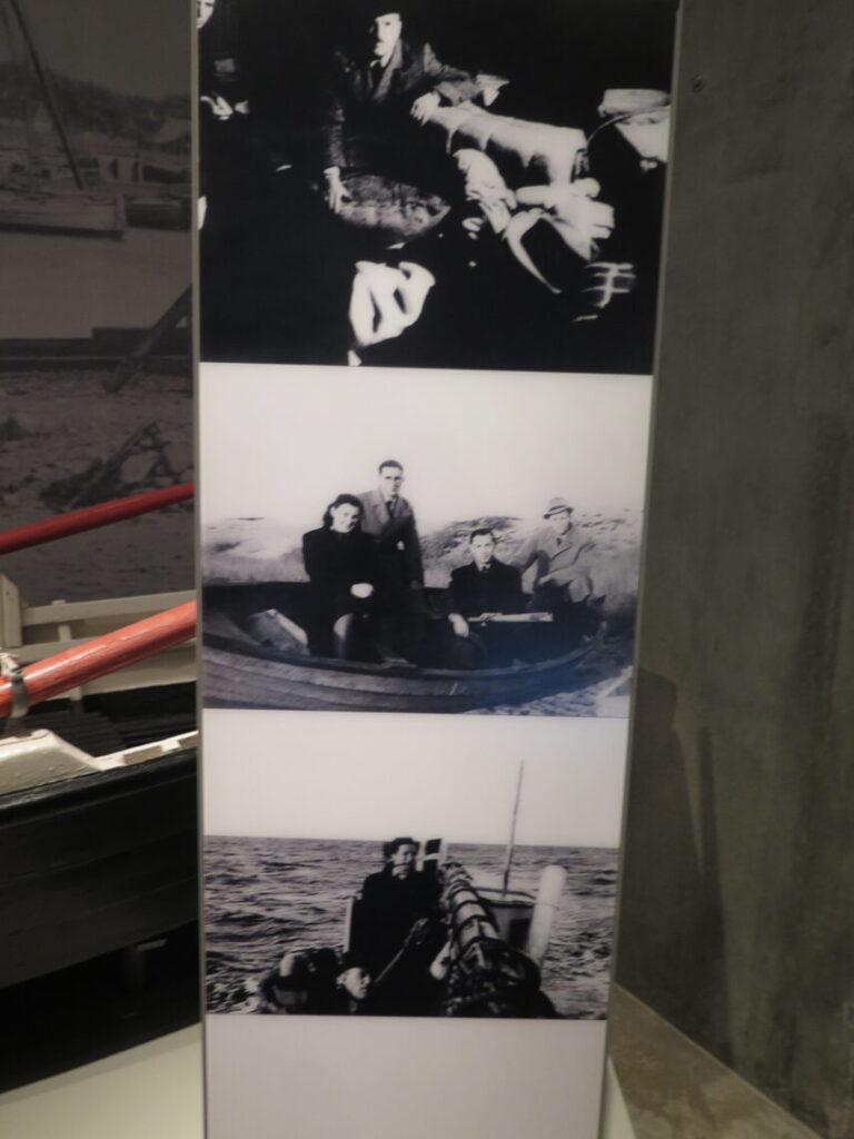Tre øjebliksbilleder fra oktober 1943 som vist på Holocaustmuseet Yad Vashem i Jerusalem