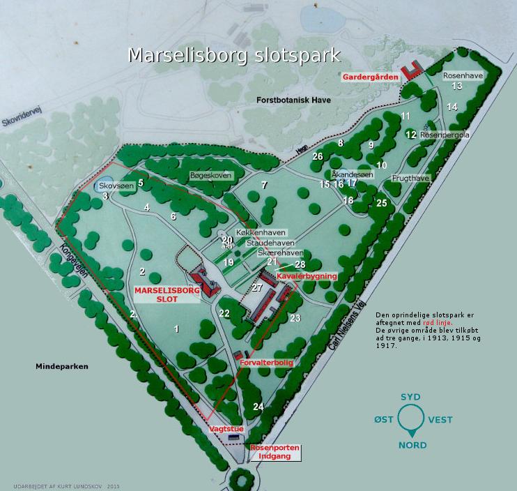 Kort over Marselisborg Slotshave med skulpturernes placering
